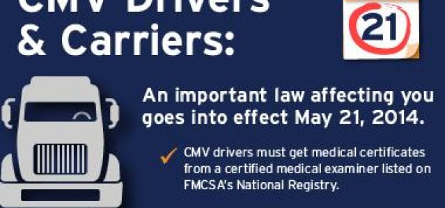 DOT Reminds Commercial Drivers that Physicals Must Now Be Performed by Certified Medical Examiners