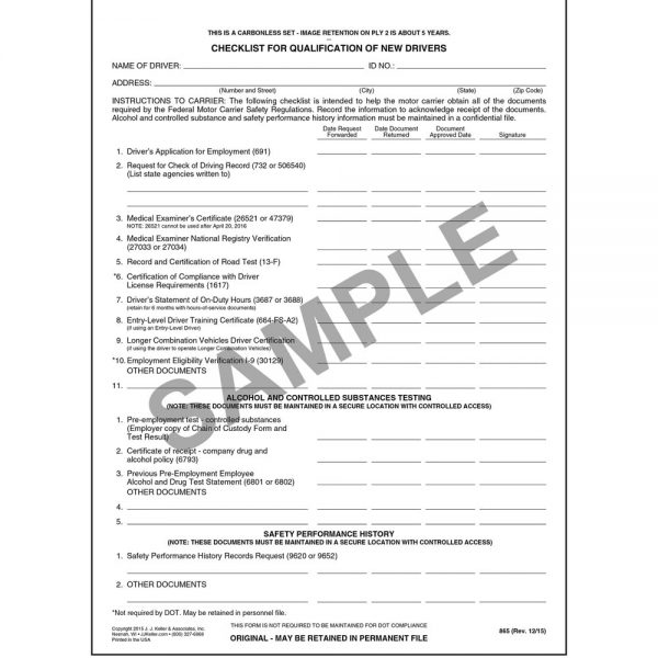 A truck driver qualification checklist