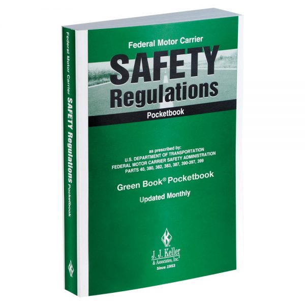 A pocketbook with FMCSA safety regulations