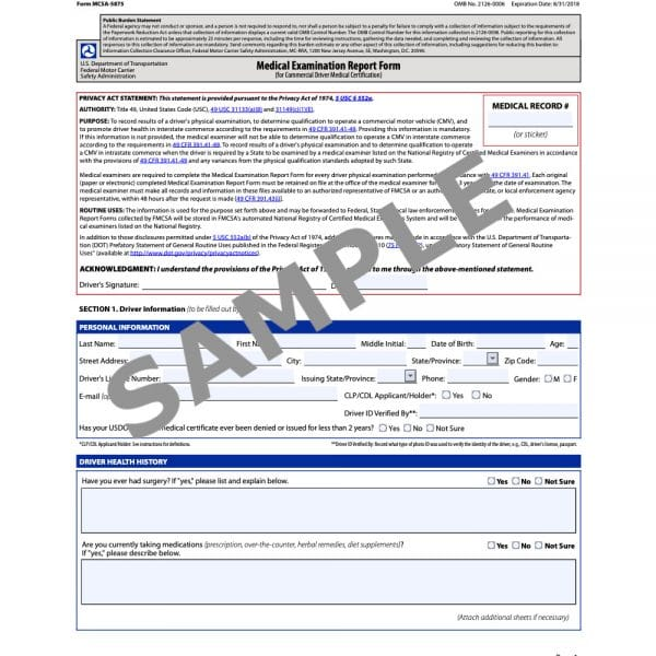 A sample medical exam form for potential trucking employees