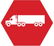 A red logo with a semi-truck, representing our compliance services for commercial motor carriers