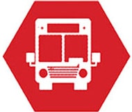 A logo with a bus, representing our DOT compliance services for transit companies